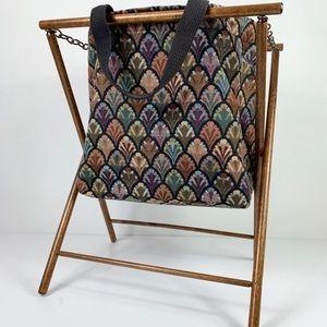 Other - Collapsible Magazine Holder Wooden Frame Yarn Bag